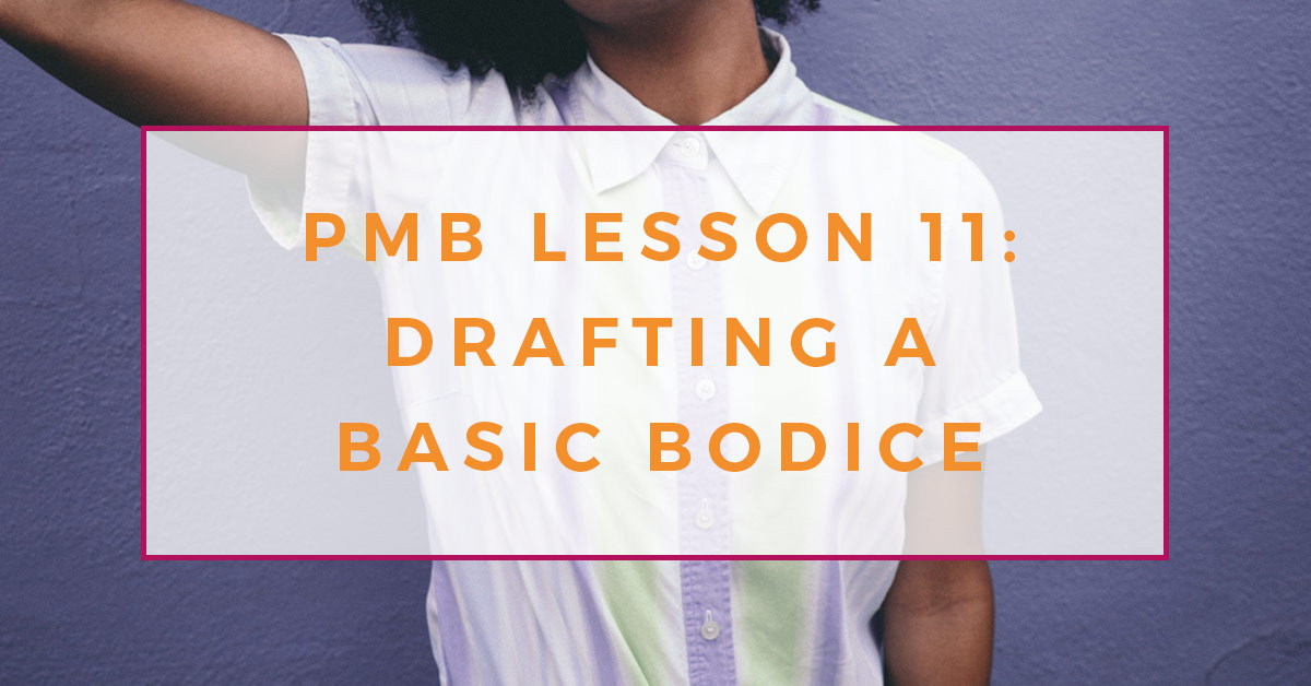 Photograph of a young female African American woman wearing a lilac, pale green and white striped shirt with a traditional shirt collar. She has her right arm raised in the air. Text overlay reads PMB lesson eleven, drafting a basic bodice.