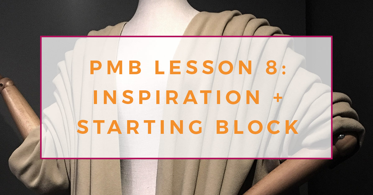 A photograph of a beige jacket, with deep fabric folds from the shoulder down to the elbow, worn by a mannequin at the Balenciaga exhibition in London. Text overlay on the image reads PMB lesson 8: Inspiration and starting block